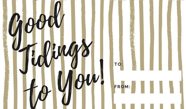 good Tidings to you Gold Striped Holiday Gift Tags Collection