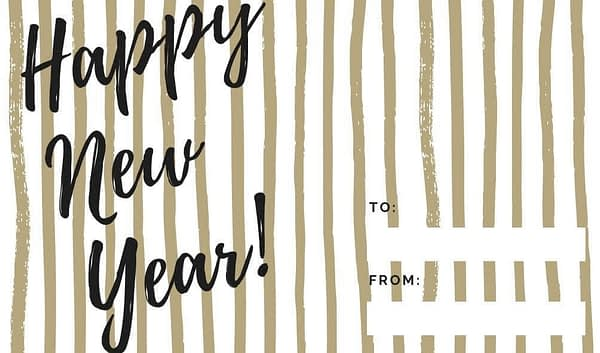 Happy New Year good Tidings to you Gold Striped Holiday Gift Tags Collection