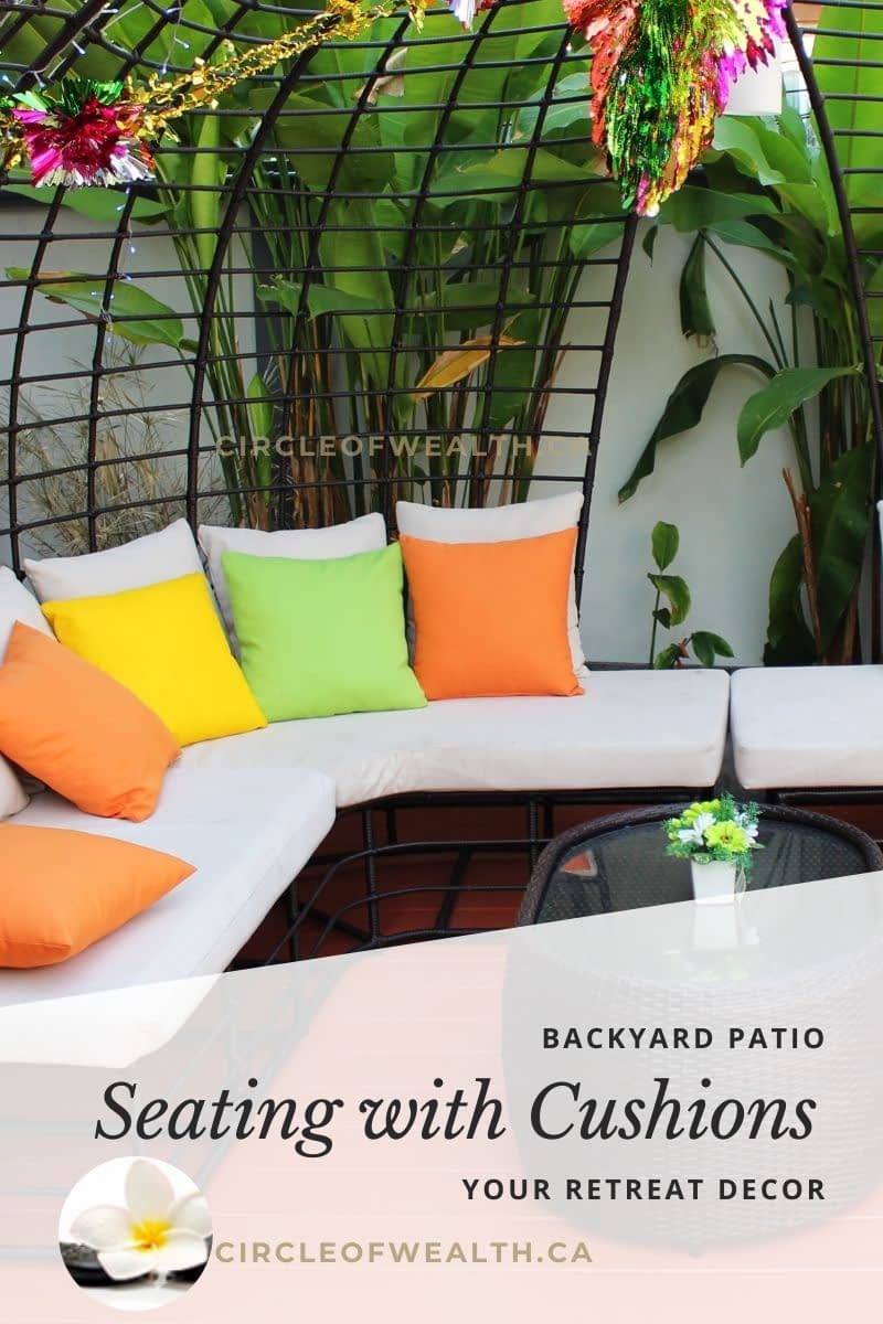 plants surrounding your seating area with cushions